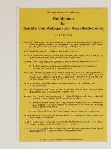 1051 Richtlinien Regalbedienung