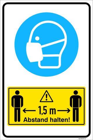 Schild Aufkleber Corona 1,5 m Abstand Maske tragen
